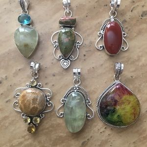6 silver pendants with natural gemstones-USA made